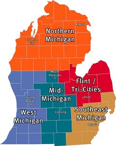 MI mitten map