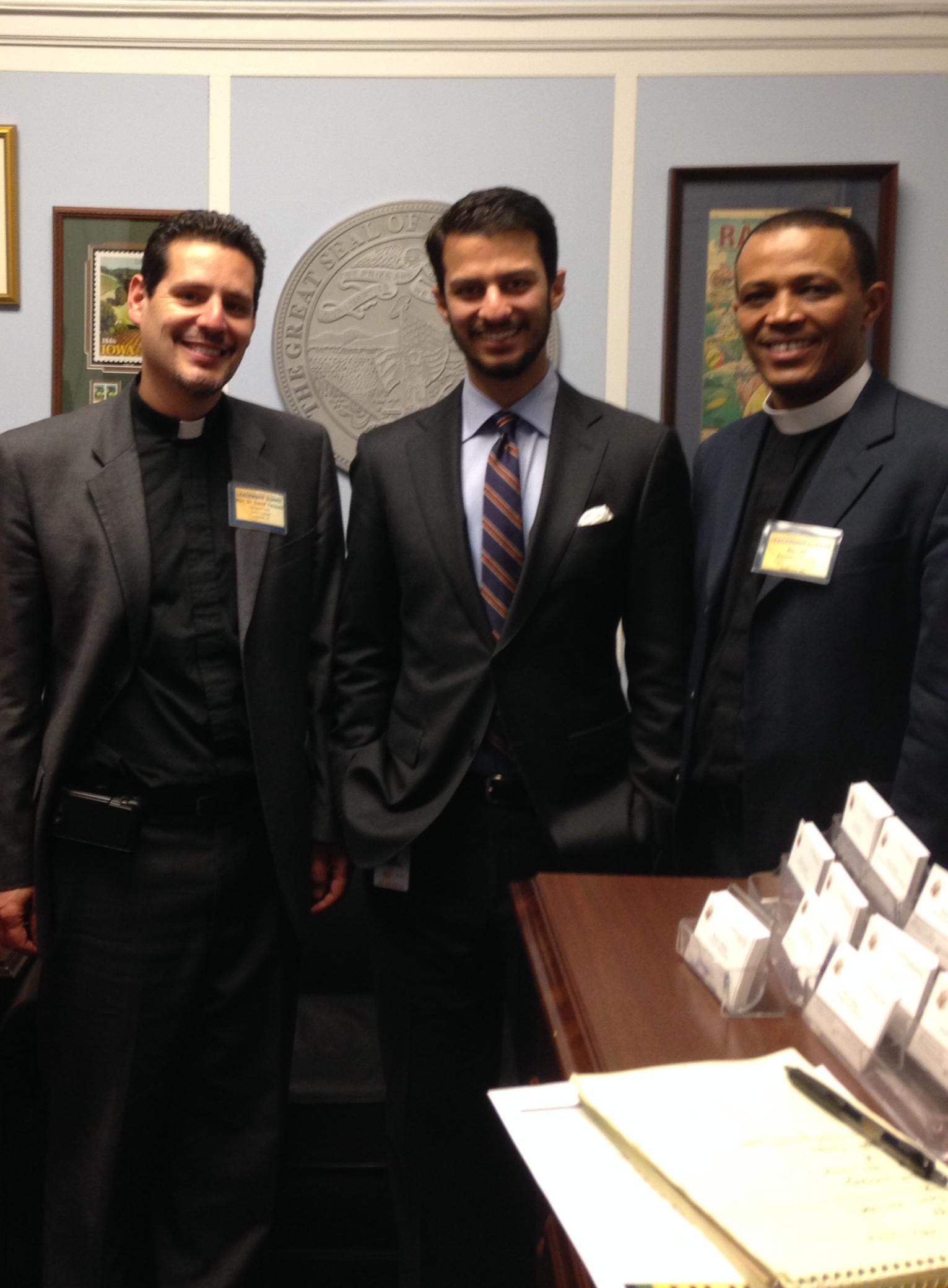 Pastor David Vasquez and Pastor Amsalu Geleta visit with Rep. Bruce Braley's office. L-R: Pastor Vasquez, Akshai Datta, and Pastor Geleta