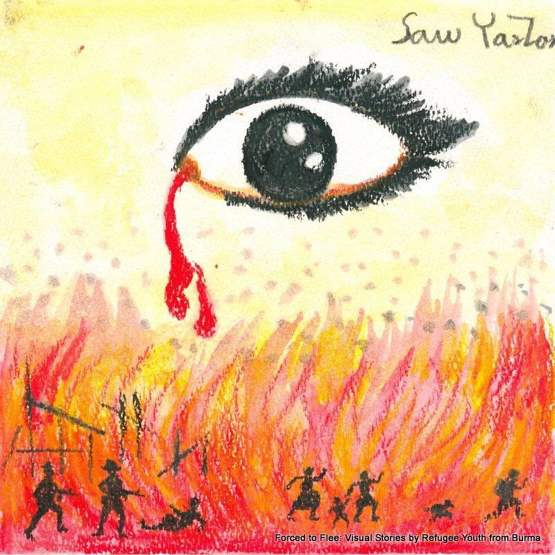 Saw Yar Zar's painting of his village burning in Burma.